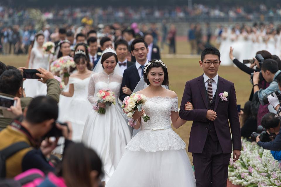 Chinese women are being urged to get down the aisle to up the countrys birth rates