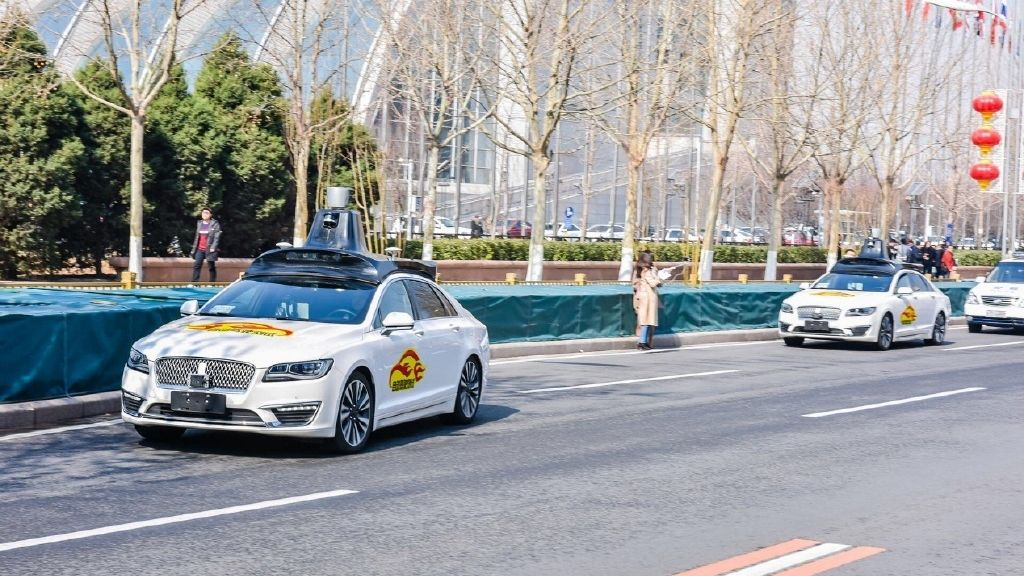 A Baidus Apollo autonomous car is seen during a public road test for self driving vehicles in Beijing