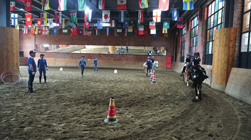A group of small children during horseback riding class