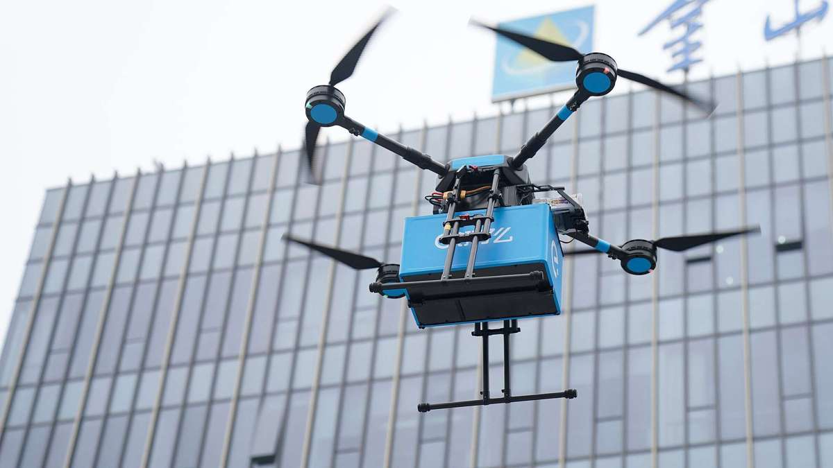 The delivery system is now under a trial run for a total of 17 aerial routes in Shanghai with the goal to deliver food orders in 20 minutes