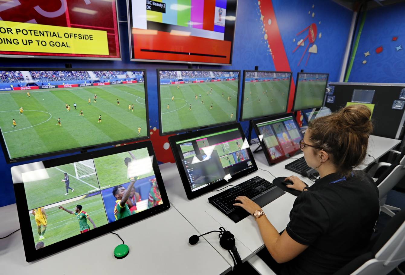 A view of the video assistant refereeing VAR operation room of the 2018 World Cup International Broadcast Centre IBC in Moscow Russia