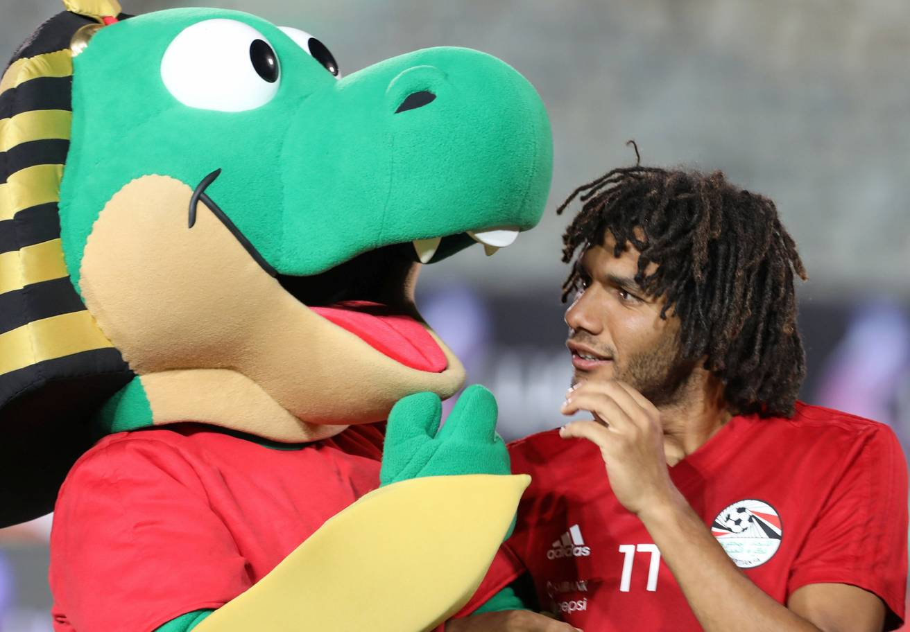 Egypts Mohamed Elneny is seen during training in Cairo international stadium