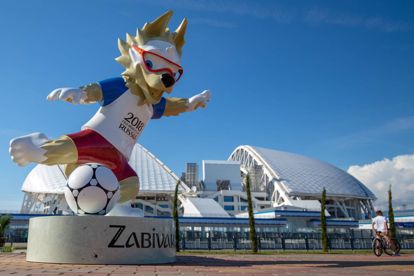 General view of the Fisht Stadium and the statue of Zabivaka the Wolf the official mascot of the 2018 FIFA World Cup prior to the start of the FIFA 2018 World Cup