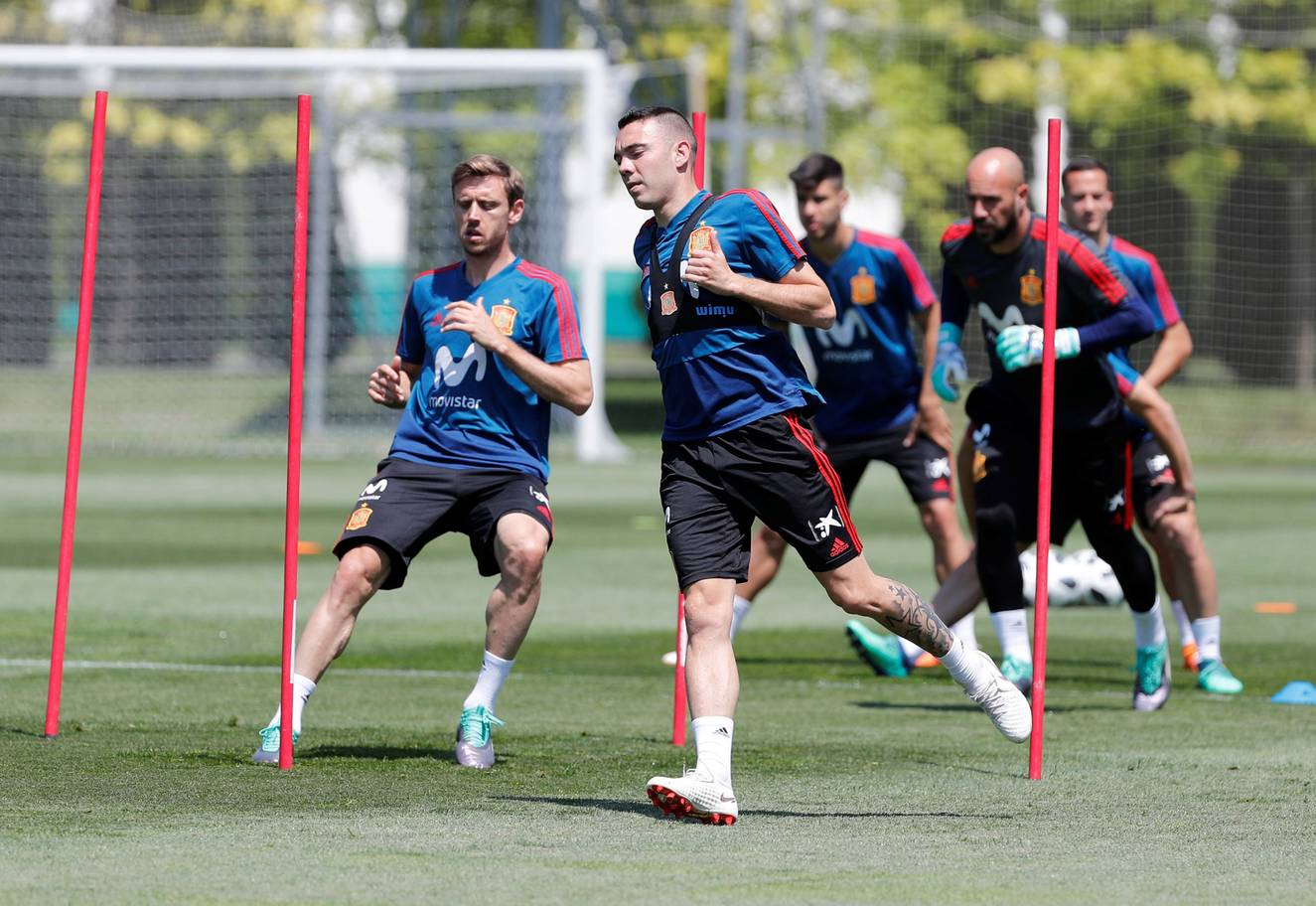 Spains Iago Aspas during training