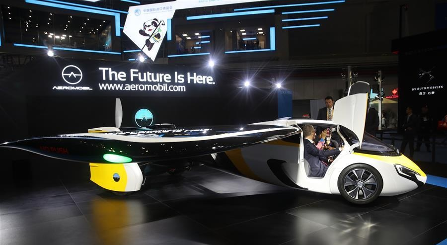 Photo taken on Nov. 5 2018 shows flying car developed by AeroMobil at the first China International Import Expo in Shanghai