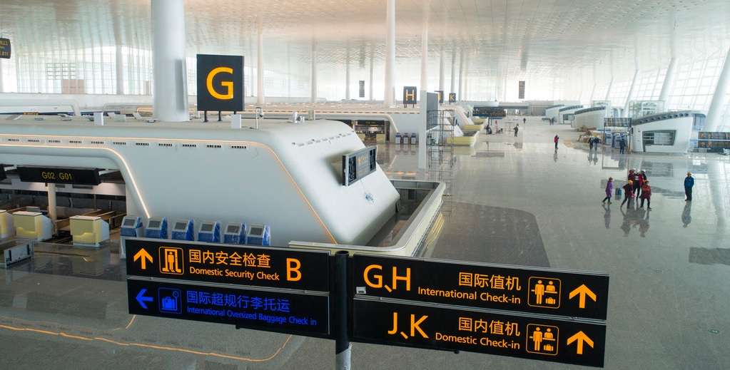 View of check in counters at the Terminal 3 building at Wuhan Tianhe International Airport in Wuhan