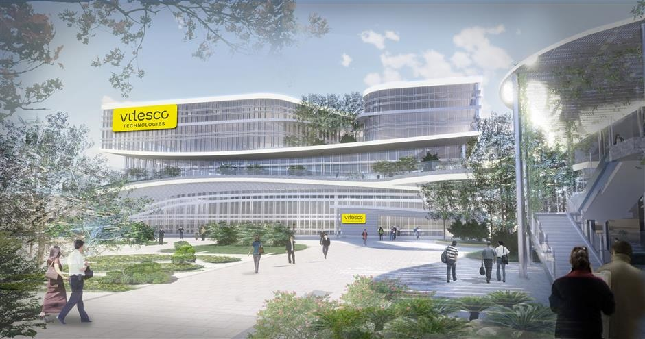 An artists rendition of the planned research and development center of Vitesco Technologies in Tianjin